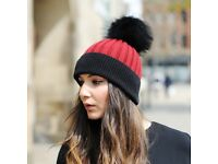 DAYMISFURRY--Black And Red Wool Beanie Hat With Raccoon Fur Pom Pom