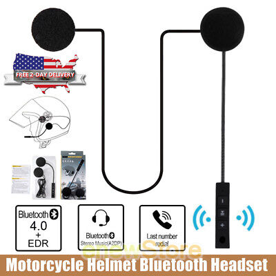 Rechargeable Motorcycle Helmet Headset Speaker Mic Bluetooth Handsfree Music NEW ()