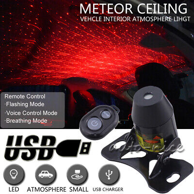Car Atmosphere Lamp Interior Ambient Star Light Red LED USB Projector Starry Sky