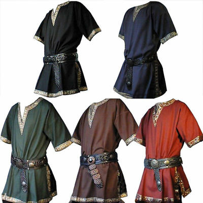 Mens Medieval Renaissance Tunic Saxon Short Sleeve Halloween Cosplay Costume New