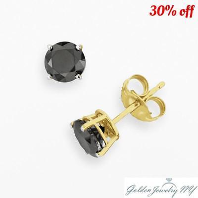 14K Solid Yellow Gold Round Black Onyx CZ Stud Earrings Basket Setting.