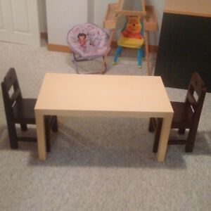 Child Size Table and 2 Solid Wood Chairs