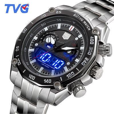 Tvg Blue Led Binary Dual Display Quartz Watch Full Steel Sport Watches For Men