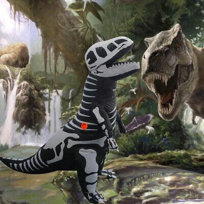 Skeleton T-REX Dinosaur Inflatable Costume Dino Fossil Kids Size w/Battery Fan