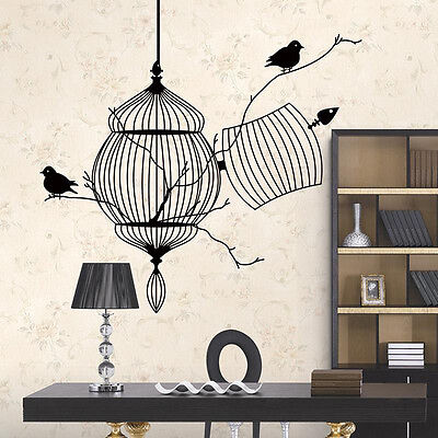 (Bird Cage Tree Branch Wall Decal Sticker Vinyl Art Kids Room Living Home Decor)