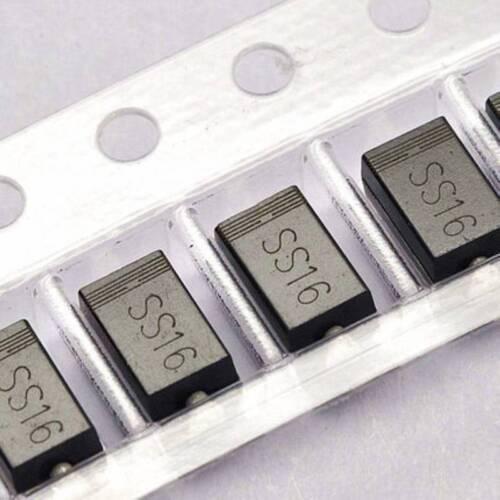 50PCS SS16 SR160 1A/60V SMA DO-214AC SMD Schottky Diodes NEW