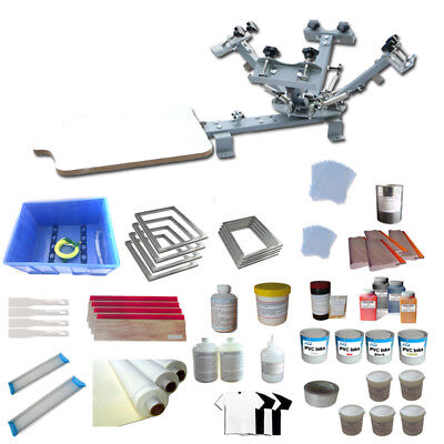 4 Color 1 Station Screen Printing Kit Silk Press Printer With Ink Manual Tools