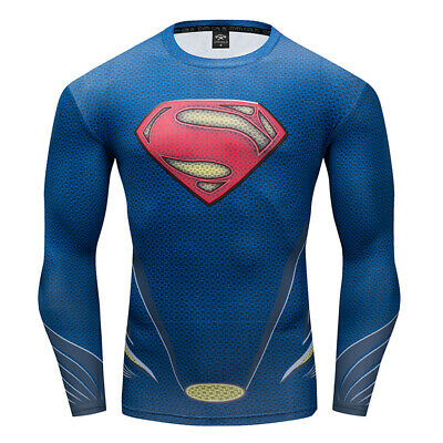 Marvel Men Gym T Shirt Compression Top Superhero Avengers Muscle SuperMan Shirt