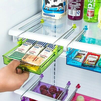 Slide Kitchen Fridge Space Freezer Organizer Saver Storage Rack Shelf Holder New