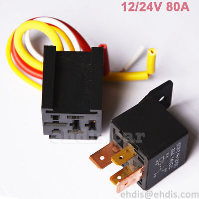 4pin 12v 80a Normally Open Spdt Relay Socket Plug W 4 Wire Car Truck Motor Boat