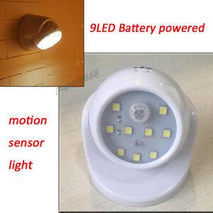 9 led white motion activated cordless sensor light in. Black Bedroom Furniture Sets. Home Design Ideas