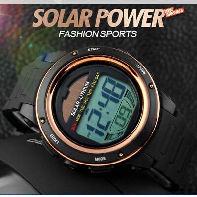 SKMEI Men LED Digital 50M Waterproof StopWatch Solar Power Quartz Wrist Watch US