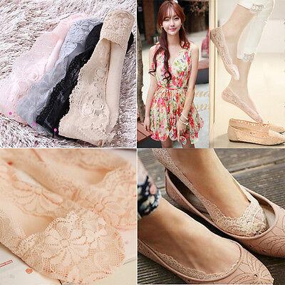 Cozy Korean Womens Elastic Cotton Lace Antiskid Invisible Low Cut Socks Sus
