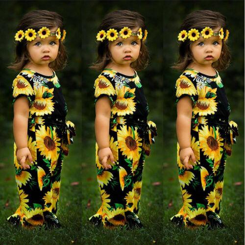 Toddler Kids Baby Girls Sunflower Romper Belt Jumpsuit Summe