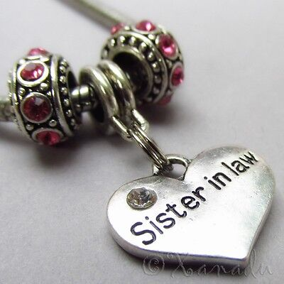 Sister In Law European Charm Pendant + Birthstone Beads For Large Hole Bracelets