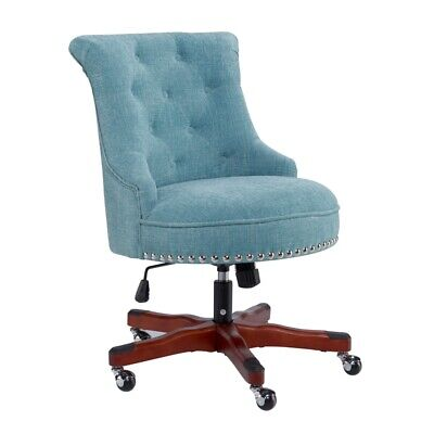 Linon Sinclair Wood Upholstered Office Chair In Aqua Blue