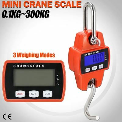 300 Kg 660 Lbs Mini Crane Scale Lcd Digital Industrial Hook Heavy Duty Hanger Us