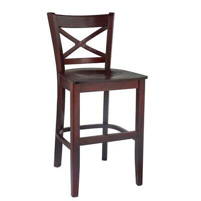 Cross Back Counter Stool Dark Mahogany with wood seat ()
