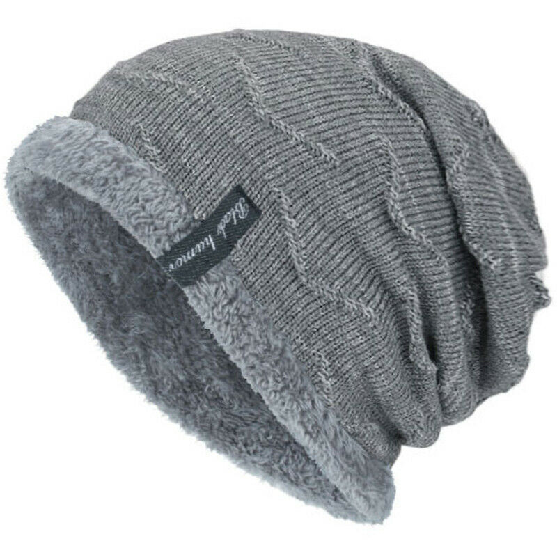 Unisex Winter Warm Knit Slouch Outdoor Lined Ski Cap