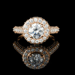 Yellow gold diamond engagement ring 1.75CTW Bague de fiançailles