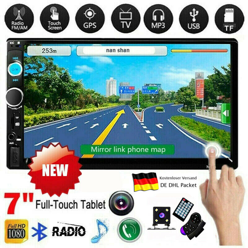 "7"" Doppel Autoradio Stereo MP5 MP3 Player 2Din Bluetooth USB FM AUX IN + Kamera"