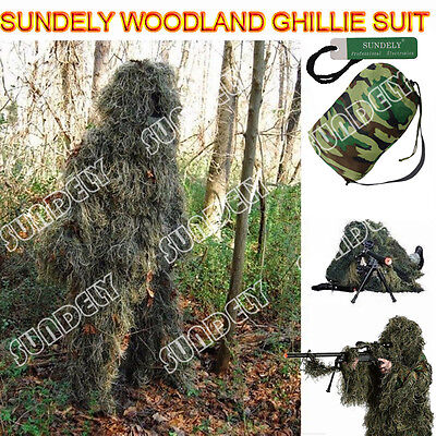 c0306025 New 5Pcs Ghillie Suit Hunting Archery Sniper Wrap Bag Paintball Camo Adult  Gilly