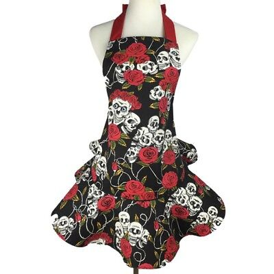 Retro Cotton Apron Cooking Kitchen Restaurant Aprons Bib Skull and Roses Pattern