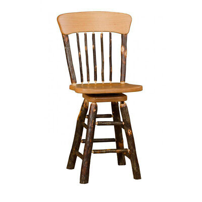 Hickory Rustic Bar Stool - Rustic Hickory Panel Back 30