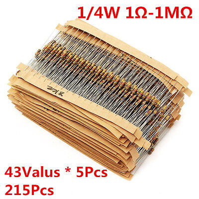 215pcs 43 Values 14w 0.25w Carbon Film Resistors Assortment Kit 1-1m Ohm