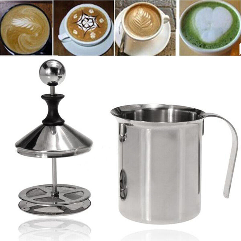 400ML Manual Foam Maker Milk Frother Coffee Cream Whisking H