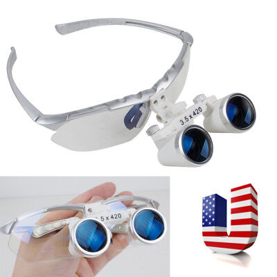 Us Dental Dentist Loupes Surgical Binocular Magnifying Glasses 3.5x 420mm Silver
