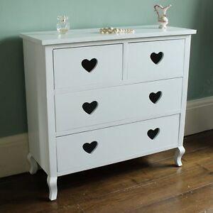 White heart chest of drawers girls bedroom dressing room - White heart bedroom furniture ...
