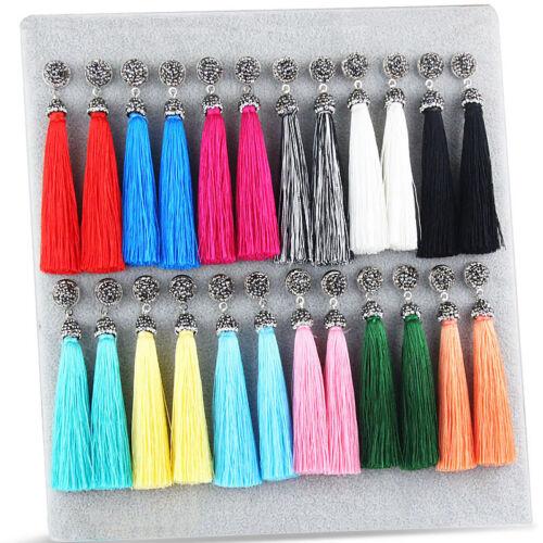 Earrings - Fashion Charm Women Bohemia Crystal Silk Tassel Fringe Dangle Ear Stud Earrings