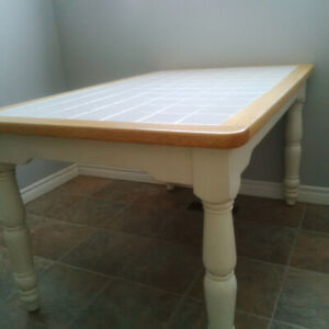 Pine & white tile kitchen table  and 6 chairs. Solid wood.
