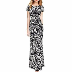 WOMEN COCKTAIL PARTY LONG DRESS BLACK SHORT SLEEVE