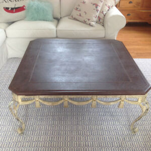 Iron Leather Topped Coffee Table