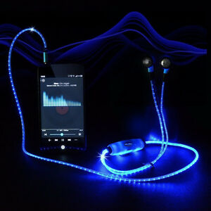 Visible Flashing Glowing LED Earphone with Mic for All Smartphon