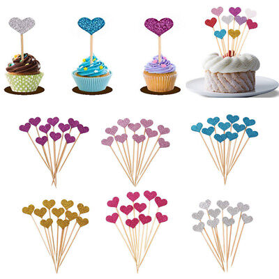 30pcs Love Heart Birthday Cupcake Toppers Party Baby Shower Wedding Cake Decor