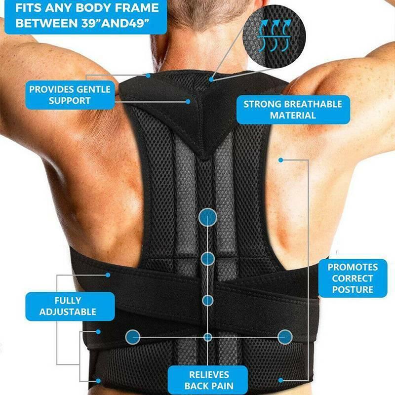 US Back Posture Corrector Lumbar Shoulder Support Brace Belt