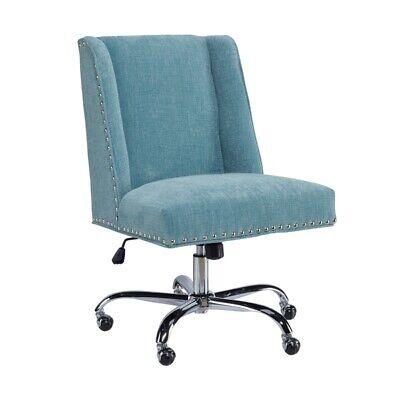 Linon Draper Wood Upholstered Office Chair In Aqua Blue
