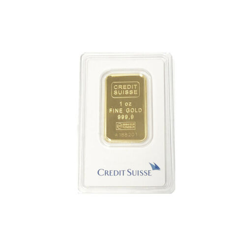 1 oz Gold Credit Suisse Bar .9999 Fine Sealed In Assay