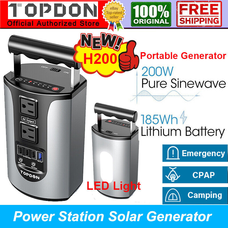 Portable Power Station Solar Generator 200W 49800mAh Battery Backup Power Supply
