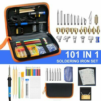 101pcs 60w Wood Burning Pen Welding Tips Stencil Set Soldering Iron Burner Kit