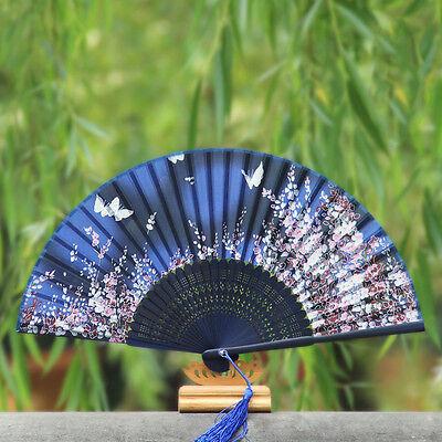 Abanico Japonés Plegable Mariposa Azul Seda Mano Flor Bambú Asiát G4