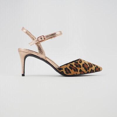 Women's Faux Suede Leopard Print Kitten Slingback Heeled Pumps Point Toe Sz 6-11 (Point Toe Pumps)