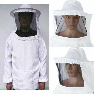 White Beekeeping Veil Suit Dress Jacket Smock Bee Hat Protective Equipment Us
