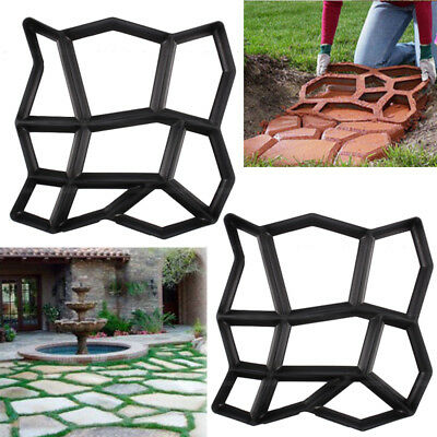 2Pcs Driveway Paving Pavement Mold Patio Concrete Stepping Stone Path Maker Us