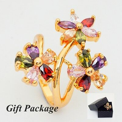 Gift Box Pack 24K Gold Filled Colorful Cubic Zirconia Gorgeous Women's Ring - Gold Gift Box