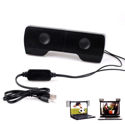- Clip-On Speakers USB Powered Multimedia Stereo Subwoofer for Laptop Desktop PC