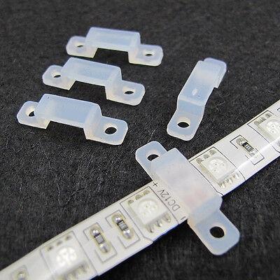 10X Fixer Silicon Clip 12mm For Fix 5050 5630 RGB Single Color LED Strip LightXC
